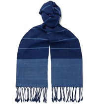 Il Bussetto Fringed Indigo Dyed Striped Slub Cotton Scarf Blue