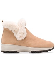 Hogan Shearling Ankle Boots Nude And Neutrals