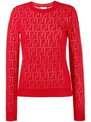 Fendi Jacquard Knit Ff Logo Sweater Red