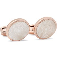 Tateossian Rotondo Guilloche Rose Gold Plated Mother Of Pearl Cufflinks Metallic
