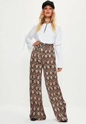 Missguided Brown Snake Print Tie Waist Wide Leg Trousers
