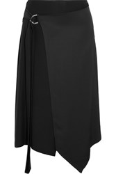 Versace Asymmetric Satin Wrap Midi Skirt Black