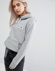 Converse Hoodie With Chuck Patch In Grey Grey Heather