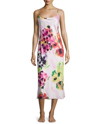 Natori Waterspring Floral Print Jersey Gown Pink Multi Size Xx Large
