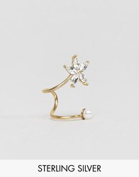 Asos Gold Plated Sterling Silver Flower Ear Cuff Gold