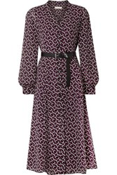 Michael Michael Kors Belted Printed Crepe Midi Dress Black