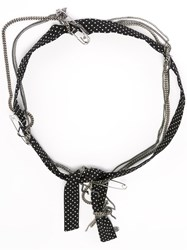 Maison Michel Polka Dot And Chain Headband Black