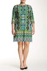 Maggy London Printed Puzzle Shift Dress Plus Size Green
