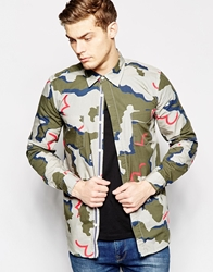 Evisu Shirt Button Down All Over Seagull Camo Print