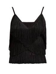 Norma Kamali Tiered Fringe Stretch Jersey Crop Top Black