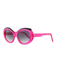 Courreges Plastic Oval Sunglasses With Curved Brow Pink Black