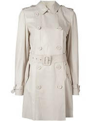 Desa Collection Double Breasted Trench Coat Nude And Neutrals