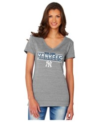 Soft As A Grape Women's New York Yankees Sequin Marled T Shirt Gray