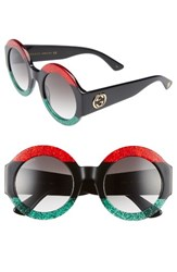 Gucci Women's 51Mm Round Sunglasses Red Black Green Grey Red Black Green Grey