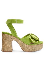 Miu Miu Buckle Detail Suede And Satin Platform Sandals Green