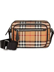 Burberry Vintage Check And Leather Crossbody Bag Yellow