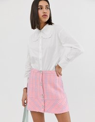 Neon Rose Shirt With Oversized Peter Pan Collar And Lace Trim White