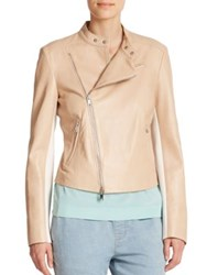 Dkny Leather Asymmetrical Jacket Powder White