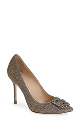 Women's Manolo Blahnik 'Hangisi' Jeweled Pump Bronze Fabric