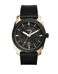 Fossil Textured Bezel And Black Leather Strap Watch