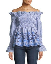 Romeo And Juliet Couture Smocked Off The Shoulder Embroidered Blouse Blue