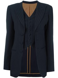 Jean Paul Gaultier Vintage Pinstriped Vest Inlay Blazer Black