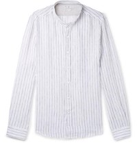 Brunello Cucinelli Grandad Collar Pinstriped Linen Shirt Blue