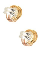 Argentovivo Sterling Silver Tri Color Knot Stud Earrings Multi
