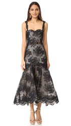 Monique Lhuillier Sleeveless Trumpet Dress Noir Nude