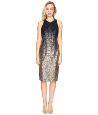 Rsvp Normandy Ombre Sequin Dress Navy Gold Women's Dress Blue