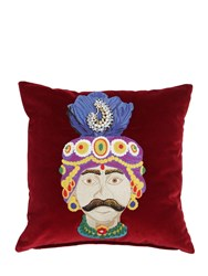 Etro Gagnant Embroidered Cotton Pillow Red Multi