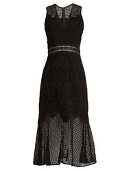 Jonathan Simkhai Fluted Hem Sleeveless Lace Dress Black