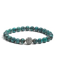 John Hardy Men's Sterling Silver Classic Chain Large Beaded Bracelet With Turquoise