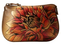 Anuschka 1107 Dreamy Dahlias Bronze Coin Purse Brown