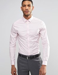 Asos Skinny Shirt In Pink With Long Sleeves Pink
