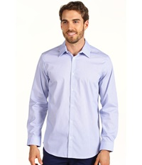 Calvin Klein L S Mini Check Poplin Woven Shirt Light Blue Men's Long Sleeve Button Up