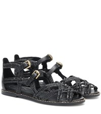 See By Chloe Braided Leather Sandals Black