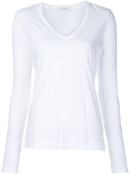 Adam By Adam Lippes Adam Lippes Longsleeved V Neck T Shirt White