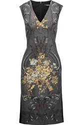 Roberto Cavalli Jersey Paneled Metallic Printed Wool Blend Dress Multi
