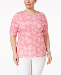 Charter Club Plus Size Cotton Printed T Shirt Only At Macy's Strawberry Ice Combo