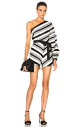 Alexis Jagger Romper In Black White Stripes Geometric Print Black White Stripes Geometric Print
