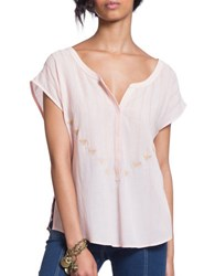 Plenty By Tracy Reese Embroidered Henley Tee Desert Rose