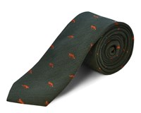 Double Two Silk Wool Fox Tie Green