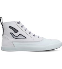Lanvin Show Cutout Leather Trainers White