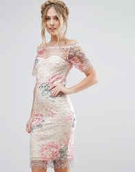 Paper Dolls Bardot Midi Crochet Lace Dress In Floral Pink Floral Multi