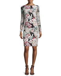 L'agence Renee Long Sleeve Floral Pencil Dress Black Multicolor Size 6 Black Combo