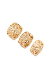 Forever 21 Diamond Shaped Cutout Ring Set Gold