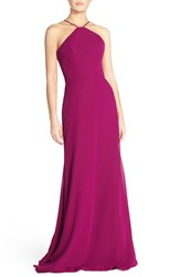 Women's Hayley Paige Occasions Strappy V Back Chiffon Halter Gown Azalea