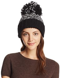 Aqua Marled Knit Beanie With Oversized Pompom Black White Black