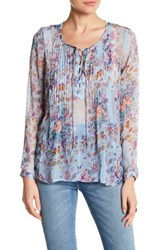 Lucky Brand Floral Peasant Blouse Blue